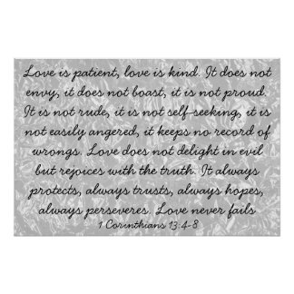 Love is bible verse 1 Corinthians 13:4-8 Poster