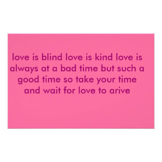 love is blind love is kind love is always at a ... personalized stationery