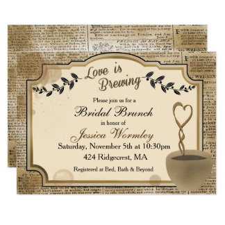 Love is Brewing Bridal Shower Invitation Coffee