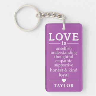 Love Is … custom name & color key chain