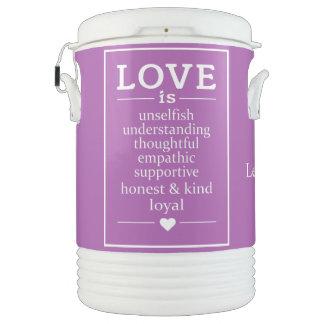 Love Is custom names, date & color beverage cooler