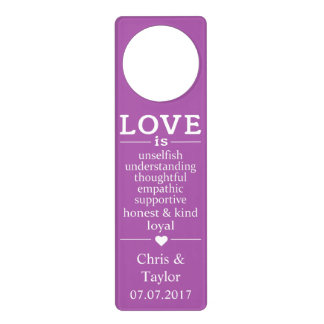 Love Is …custom names, date & color door hanger