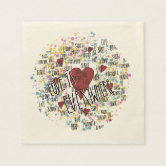 Love is everywhere disposable napkin