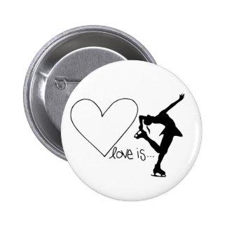 Love is Figure Skating, Girl Skater & Heart 6 Cm Round Badge