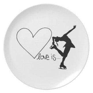 Love is Figure Skating, Girl Skater & Heart Dinner Plates
