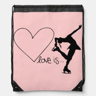 Love is Figure Skating, Heart, Backpack, Baby Pink Drawstring Bag