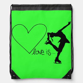 Love is Figure Skating Heart Backpack LIME