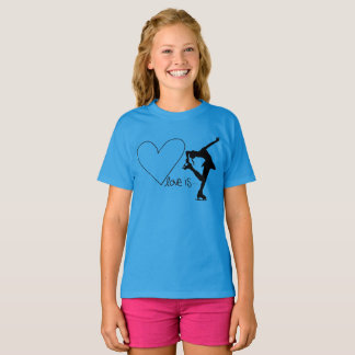 Love is Figure Skating, with Heart - BLUE T-Shirt