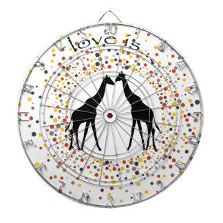 """love is"" giraffe fun animal dots elegant circle dartboard"