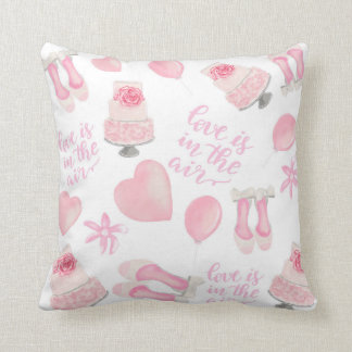 Love Is In The Air Blush Pink Wedding Shoes Cake Cushion