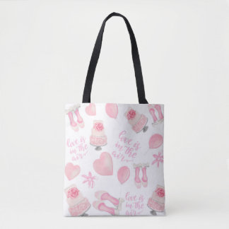 Love Is In The Air Blush Pink Wedding Shoes Cake Tote Bag