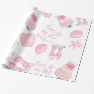Love Is In The Air Blush Pink Wedding Shoes Cake Wrapping Paper