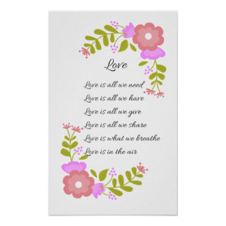 Love is in the air Poetry Floral Poster
