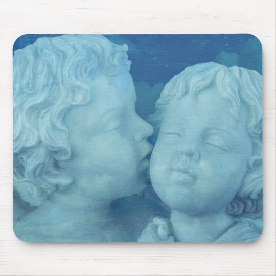 Love is in the Air, Vintage Stone Angels Kissing Mouse Pad