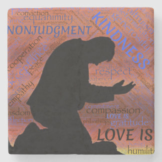 Love is Kindness, Humility. non judgement respect Stone Coaster
