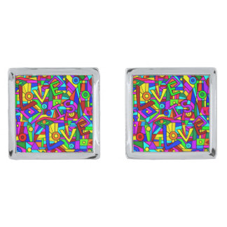 LOVE IS LOVE! (a multi-colored tile design) ~ Silver Finish Cuff Links