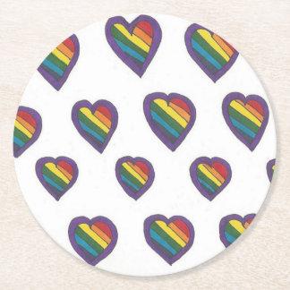 Love is Love Heart pattern Round Paper Coaster