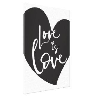 LOVE IS LOVE LBGT modern heart white lettering Canvas Print