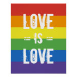 Love is Love - Love Equality Rainbow Flag Poster