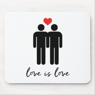 Love is Love (Men) + Heart Mouse Pad