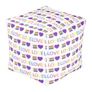 Love is Love Purple Heart Rainbow Cake Gay Pride Pouf