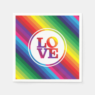 LOVE IS LOVE rainbow colors spot typography bold Paper Napkins