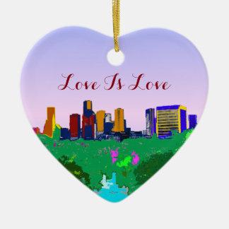 Love Is Love Rainbow Houston Skyline Gay Pride Ceramic Ornament