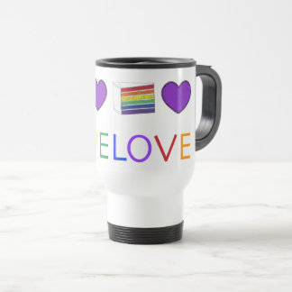Love is Love Rainbow Purple Heart Cake Gay Pride Travel Mug
