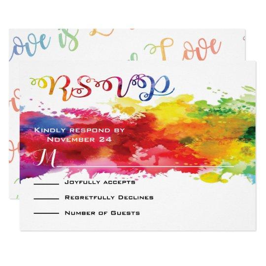 Love is Love Rainbow Splatter RSVP Card