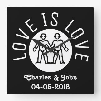 Love is Love Typography Gay Pride LGBT Black White Square Wall Clock