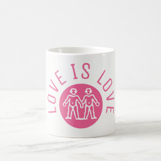 Love is Love Typography Gay Pride LGBT Pink Logo Coffee Mug