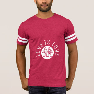 Love is Love Typography Gay Pride LGBT Pink White T-Shirt