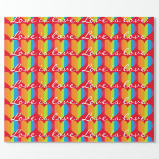 Love is love with rainbow hearts pattern wrapping paper