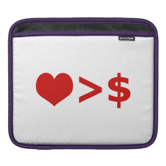 Love is more important  than Money Concept iPad Sleeves