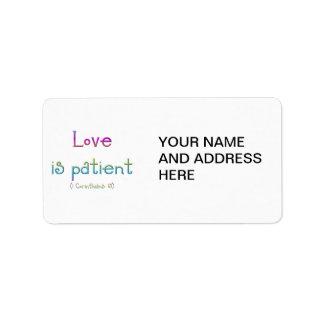 Love is patient (1 Corinthians: 13) Address Label