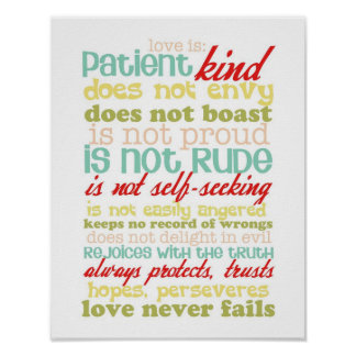 love is patient 1 corinthians 13 poster