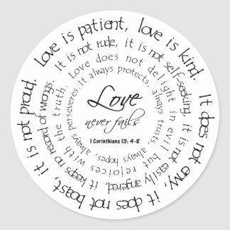 Love is Patient Black and White Round Sticker