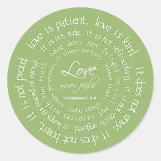 Love is Patient Christian Wedding Green Sticker