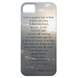 Love is Patient, Corinthians verse, clouds iPhone Barely There iPhone 5 Case