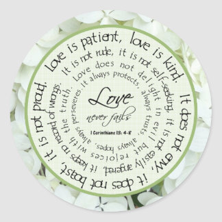 Love is Patient Floral Scripture Wedding Sticker