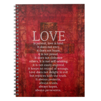 Love Is Patient Love Is Kind Bible Verse Spiral Notebook