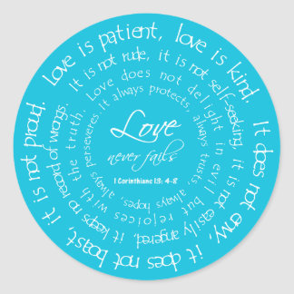 Love is Patient Round Wedding Sticker Aqua