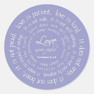 Love is Patient Scripture Lavender Wedding Seal