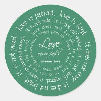 Love is Patient Scripture Wedding Envelope Seal Round Sticker