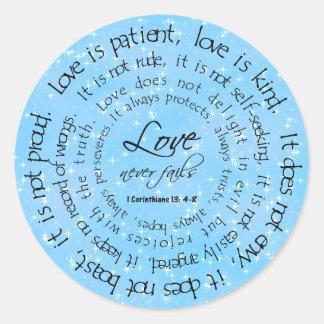 Love is Patient Stars Blue Round Wedding Sticker