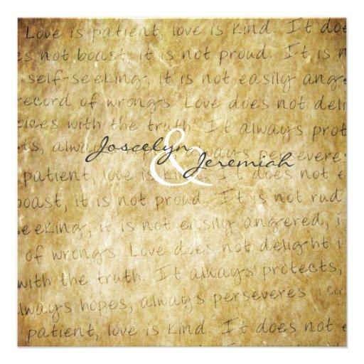 Love Is Patient Vintage Wedding Invitation 13 Cm X 13 Cm Square Invitation Card