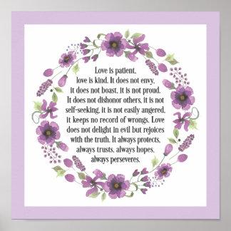 Love is Patient Wedding Bible Love Quote Poster