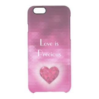 """Love is Precious"" Pink Diamond Heart Transparent Clear iPhone 6/6S Case"