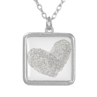 Love is sealed with thumbprints heart square pendant necklace