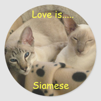 Love is....., Siamese Classic Round Sticker